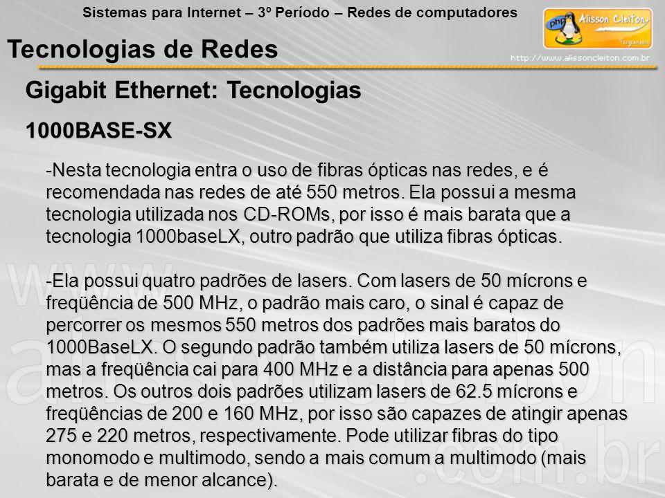Tecnologias de Redes Gigabit Ethernet: Tecnologias Sistemas para Internet – 3º Período – Redes de computadores 1000BASE-SX -Nesta tecnologia entra o u