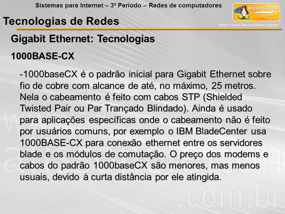 Tecnologias de Redes Gigabit Ethernet: Tecnologias Sistemas para Internet – 3º Período – Redes de computadores 1000BASE-CX -1000baseCX é o padrão inic