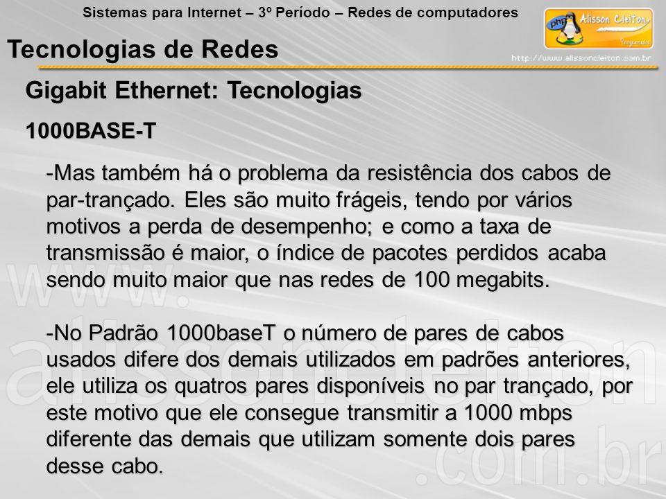 Tecnologias de Redes Gigabit Ethernet: Tecnologias Sistemas para Internet – 3º Período – Redes de computadores 1000BASE-T -Mas também há o problema da