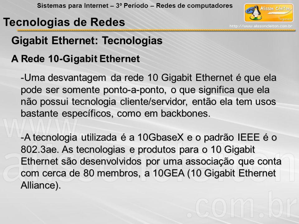 Tecnologias de Redes Gigabit Ethernet: Tecnologias Sistemas para Internet – 3º Período – Redes de computadores A Rede 10-Gigabit Ethernet -Uma desvant