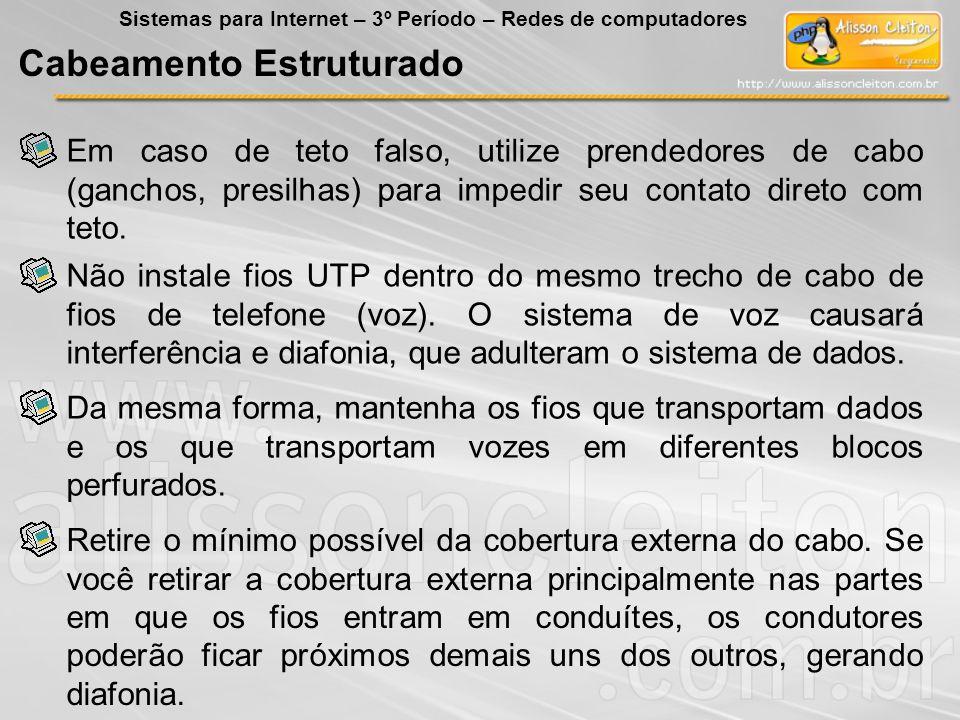 Em caso de teto falso, utilize prendedores de cabo (ganchos, presilhas) para impedir seu contato direto com teto. Cabeamento Estruturado Sistemas para