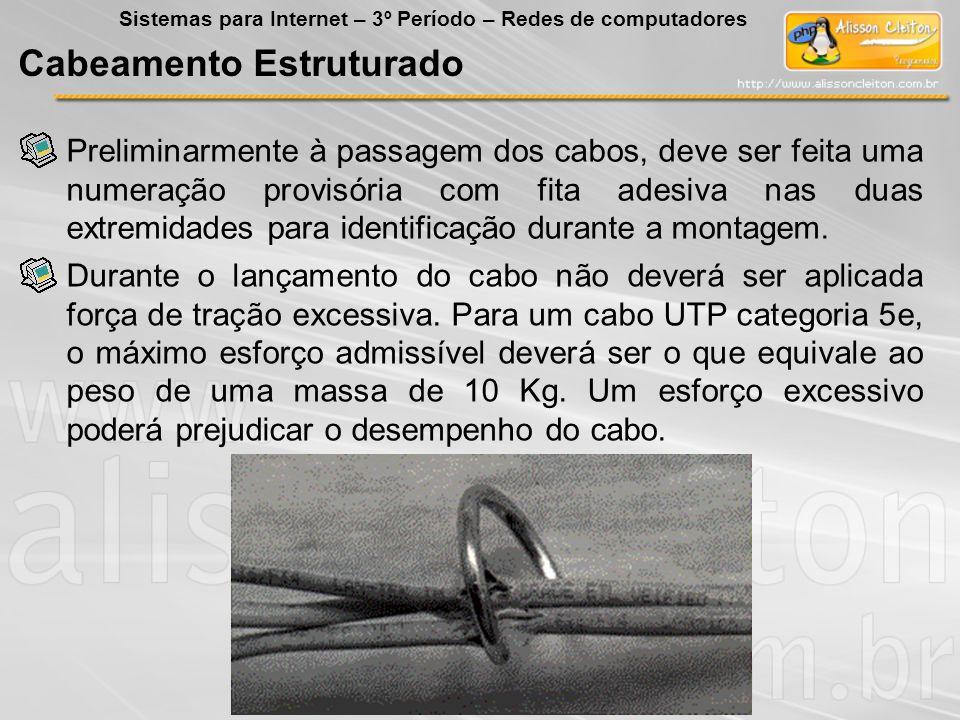 Preliminarmente à passagem dos cabos, deve ser feita uma numeração provisória com fita adesiva nas duas extremidades para identificação durante a mont