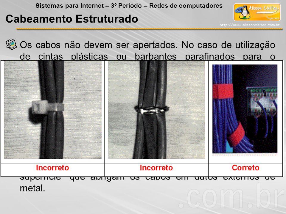 Os cabos não devem ser apertados. No caso de utilização de cintas plásticas ou barbantes parafinados para o enfaixamento dos cabos, não deve haver com