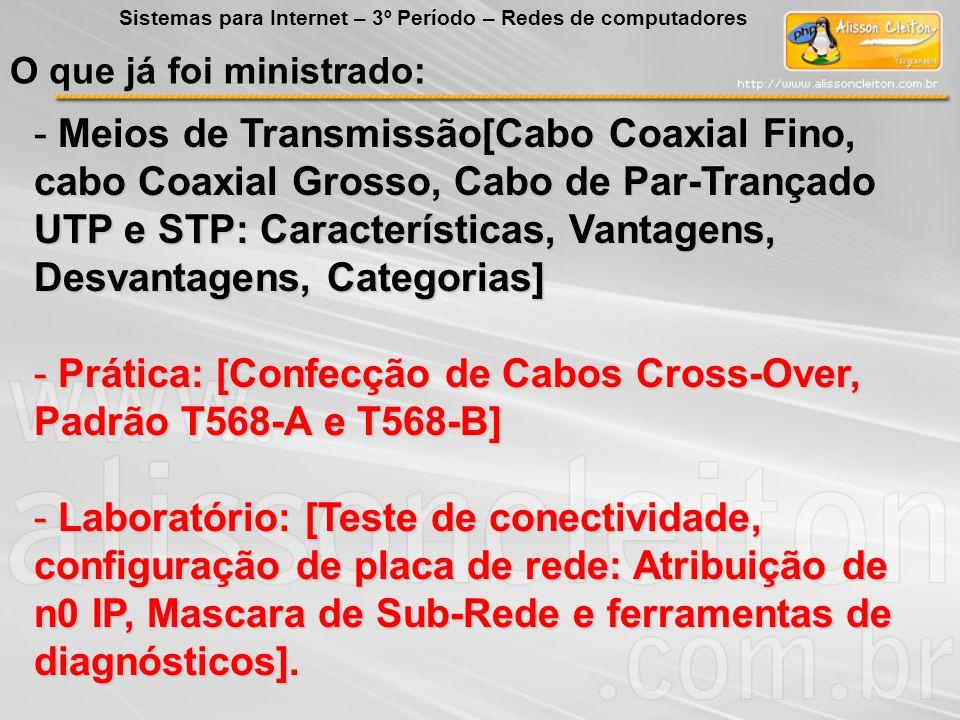 O que já foi ministrado: - Meios de Transmissão[Cabo Coaxial Fino, cabo Coaxial Grosso, Cabo de Par-Trançado UTP e STP: Características, Vantagens, De