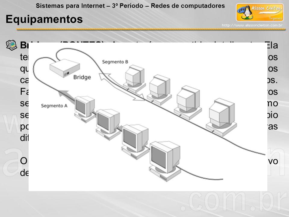 Bridges (PONTES): A ponte é um repetidor Inteligente. Ela tem a capacidade de ler e analisar os quadros de dados que estão circulando na rede. Com iss