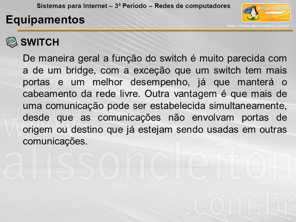 SWITCH Equipamentos Sistemas para Internet – 3º Período – Redes de computadores De maneira geral a função do switch é muito parecida com a de um bridg