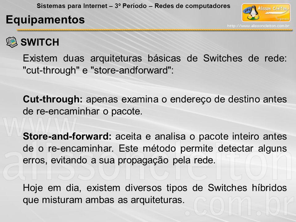 SWITCH Equipamentos Sistemas para Internet – 3º Período – Redes de computadores Existem duas arquiteturas básicas de Switches de rede: