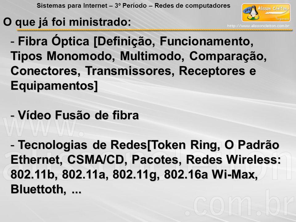 O que já foi ministrado: - Fibra Óptica [Definição, Funcionamento, Tipos Monomodo, Multimodo, Comparação, Conectores, Transmissores, Receptores e Equi