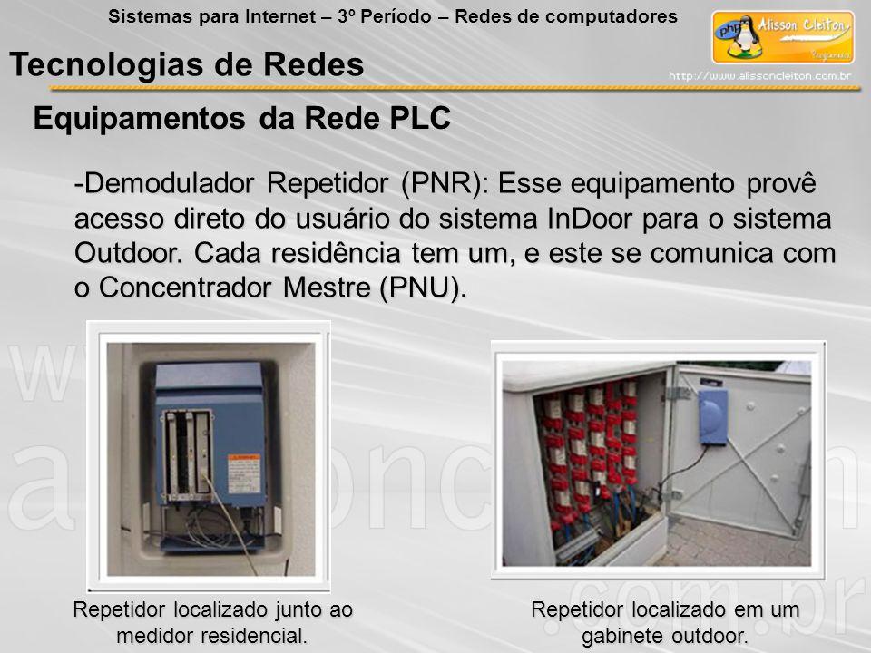 Tecnologias de Redes Equipamentos da Rede PLC Sistemas para Internet – 3º Período – Redes de computadores -Demodulador Repetidor (PNR): Esse equipamen