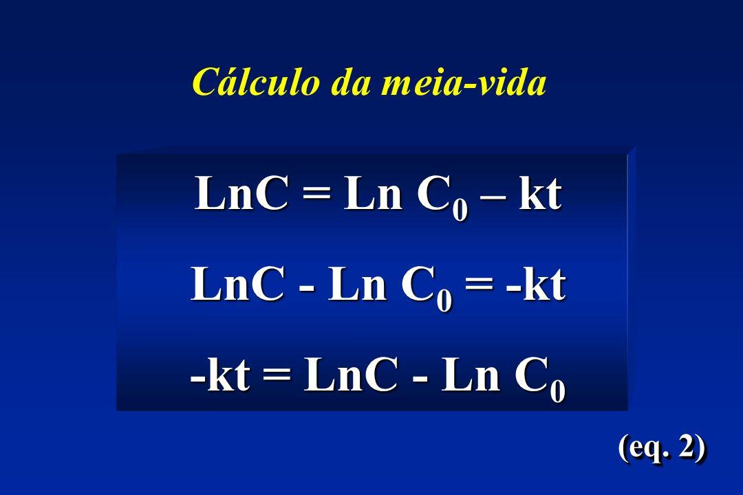 LnC = Ln C 0 – kt LnC = Ln C 0 – kt LnC - Ln C 0 = -kt LnC - Ln C 0 = -kt -kt = LnC - Ln C 0 -kt = LnC - Ln C 0 (eq.