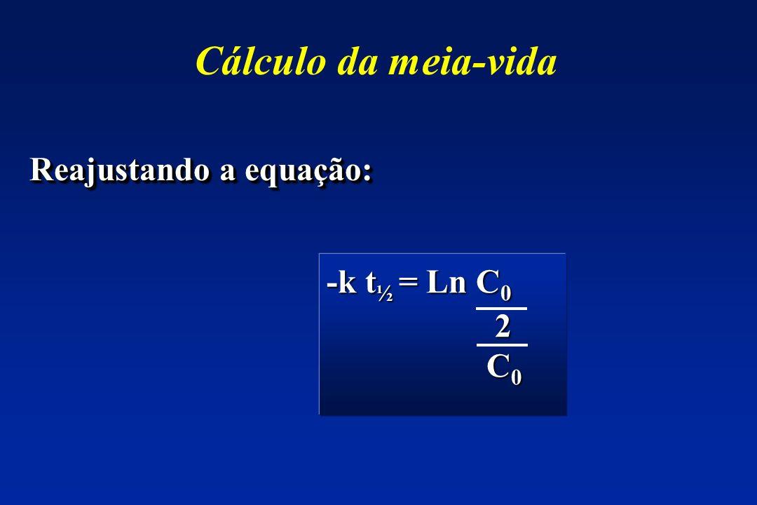 Cálculo da meia-vida Reajustando a equação: -k t ½ = Ln C 0 2 C 0 C 0