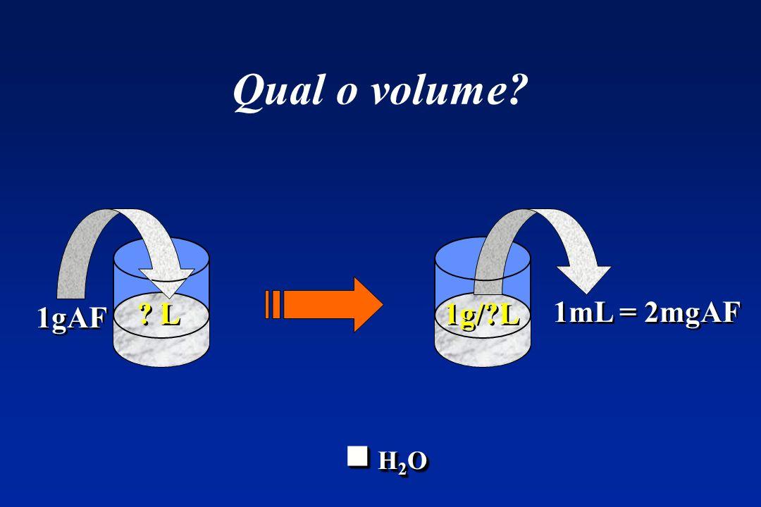 Qual o volume? ? L 1g/?L 1mL = 2mgAF 1gAF H 2 O H 2 O