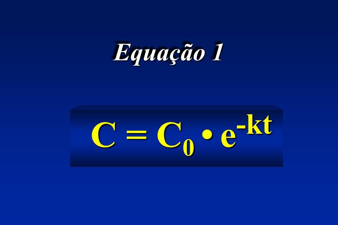 Equação 1 C = C 0 e -kt C = C 0 e -kt