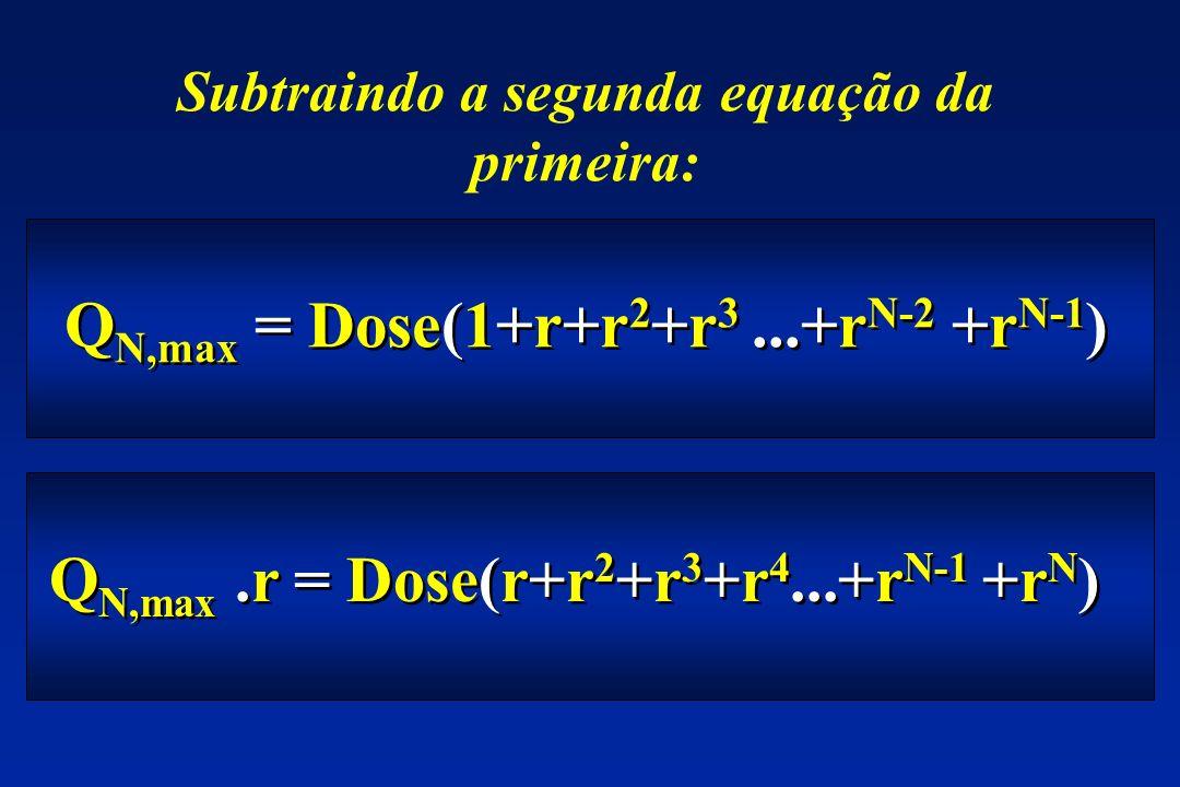 Q N,max = Dose(1+r+r 2 +r 3...+r N-2 +r N-1 ) Subtraindo a segunda equação da primeira: Q N,max.r = Dose(r+r 2 +r 3 +r 4...+r N-1 +r N )