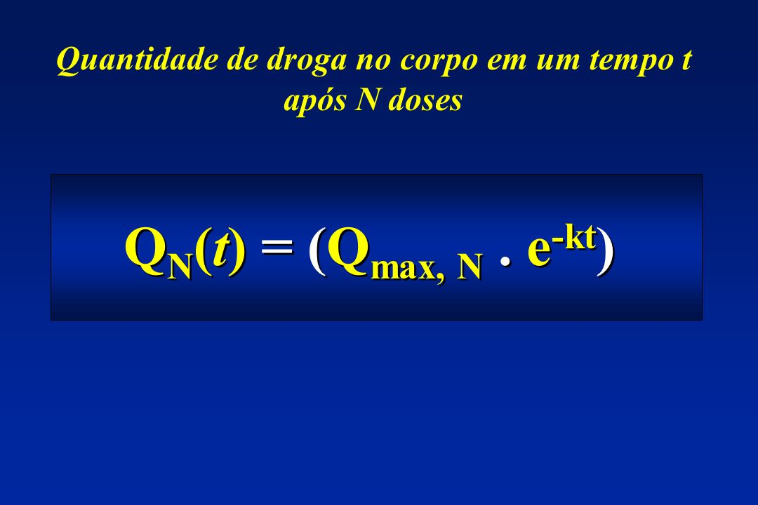 Q N (t) = (Q max, N. e -kt ) Quantidade de droga no corpo em um tempo t após N doses