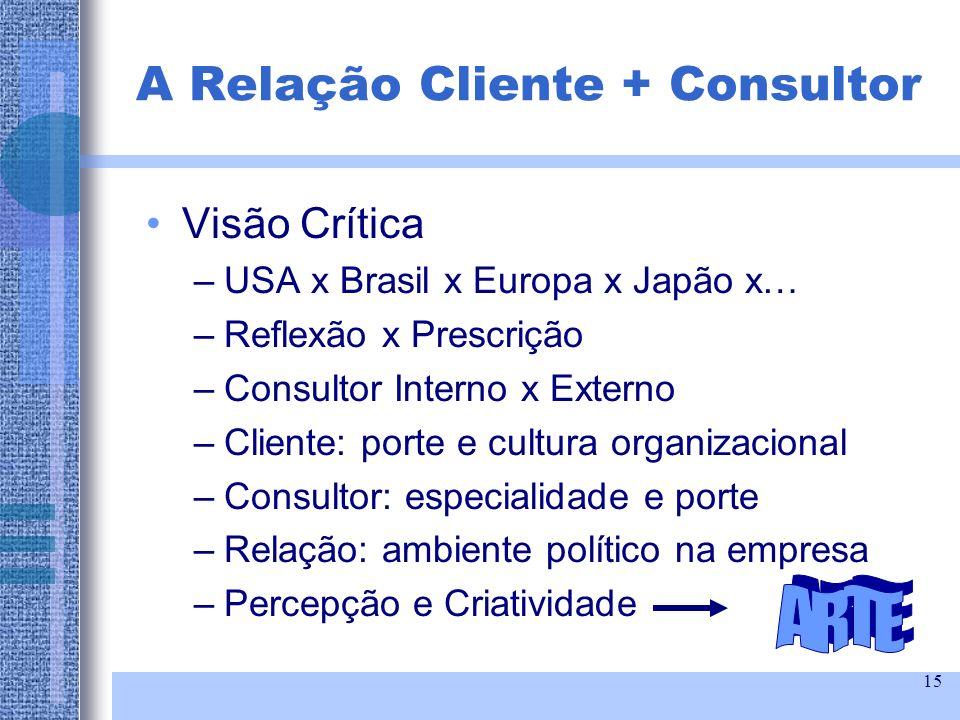 15 Visão Crítica –USA x Brasil x Europa x Japão x… –Reflexão x Prescrição –Consultor Interno x Externo –Cliente: porte e cultura organizacional –Consu