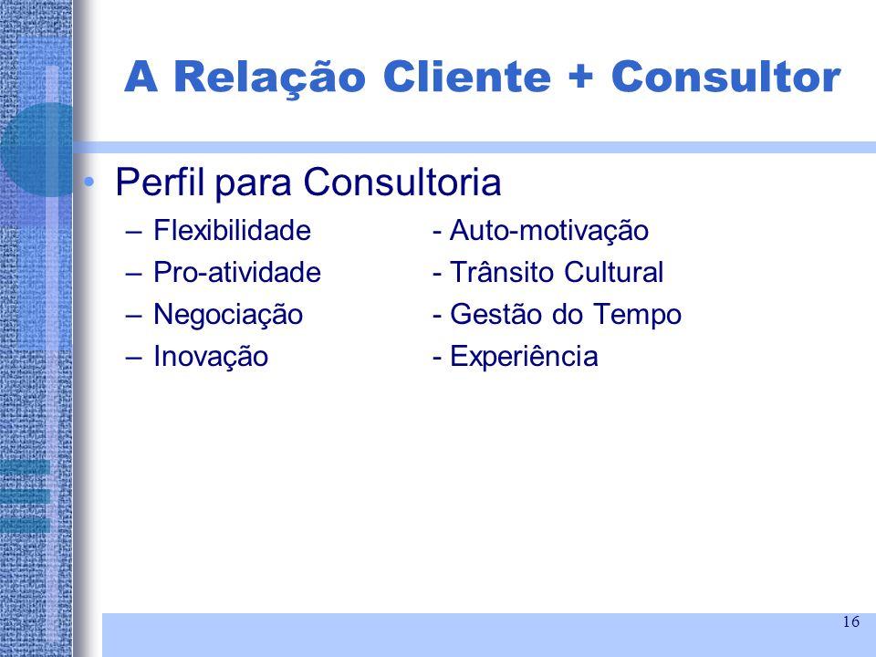16 Perfil para Consultoria –Flexibilidade- Auto-motivação –Pro-atividade- Trânsito Cultural –Negociação- Gestão do Tempo –Inovação- Experiência A Rela