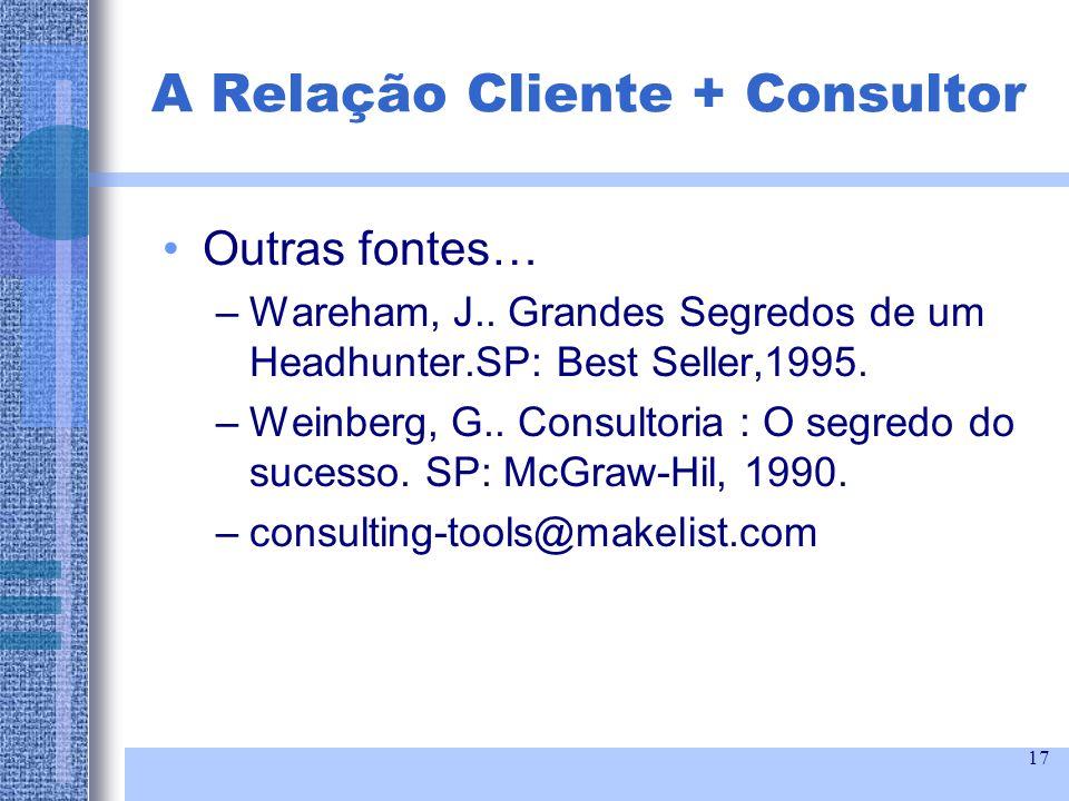 17 Outras fontes… –Wareham, J.. Grandes Segredos de um Headhunter.SP: Best Seller,1995. –Weinberg, G.. Consultoria : O segredo do sucesso. SP: McGraw-