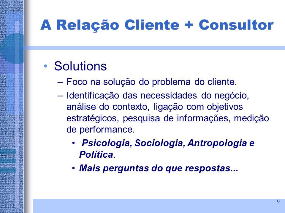 9 Solutions –Foco na solução do problema do cliente. –Identificação das necessidades do negócio, análise do contexto, ligação com objetivos estratégic