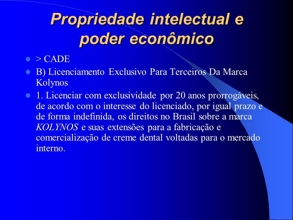 Propriedade intelectual e poder econômico > CADE B) Licenciamento Exclusivo Para Terceiros Da Marca Kolynos 1. Licenciar com exclusividade por 20 anos