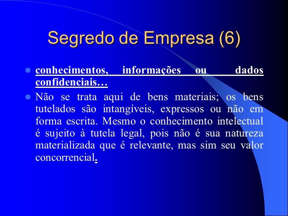 Segredo de Empresa (6) conhecimentos, informações ou dados confidenciais… Não se trata aqui de bens materiais; os bens tutelados são intangíveis, expr