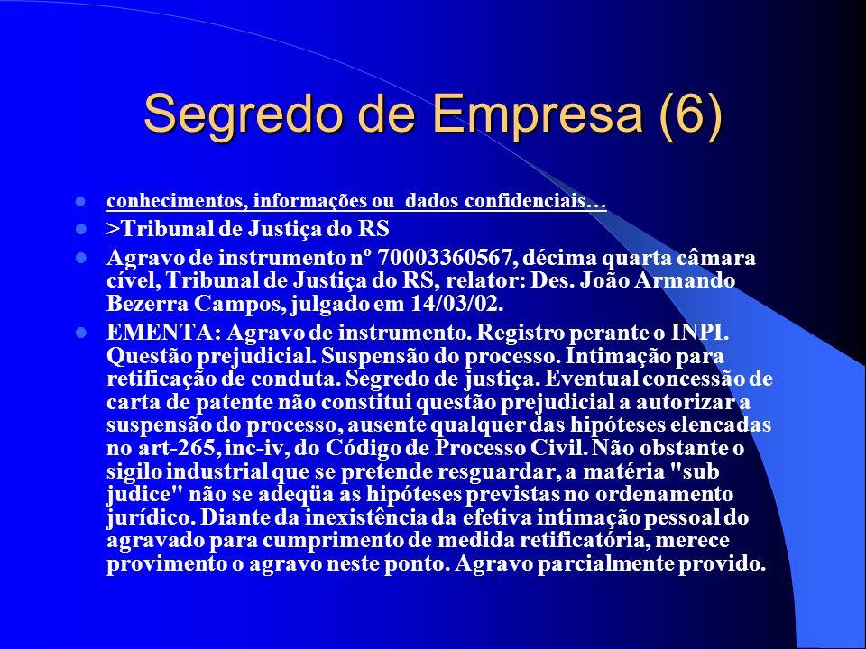 Segredo de Empresa (6) conhecimentos, informações ou dados confidenciais… >Tribunal de Justiça do RS Agravo de instrumento nº 70003360567, décima quar