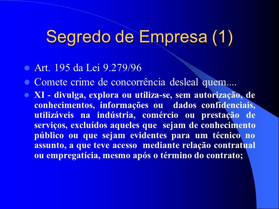 Segredo de Empresa (1) Art. 195 da Lei 9.279/96 Comete crime de concorrência desleal quem.... XI - divulga, explora ou utiliza-se, sem autorização, de