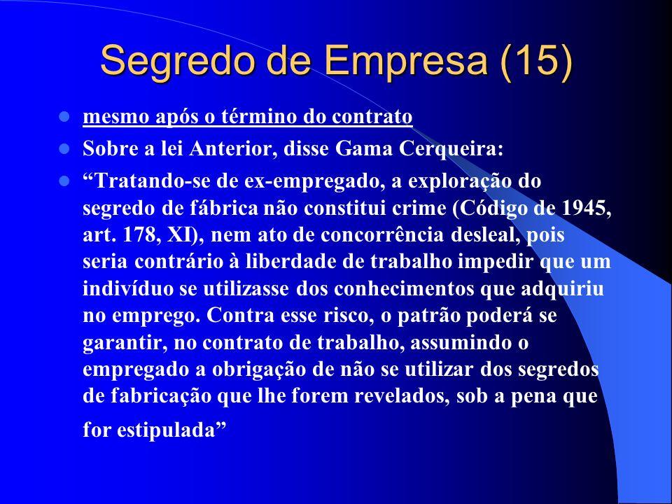 Segredo de Empresa (15) mesmo após o término do contrato Sobre a lei Anterior, disse Gama Cerqueira: Tratando-se de ex-empregado, a exploração do segr