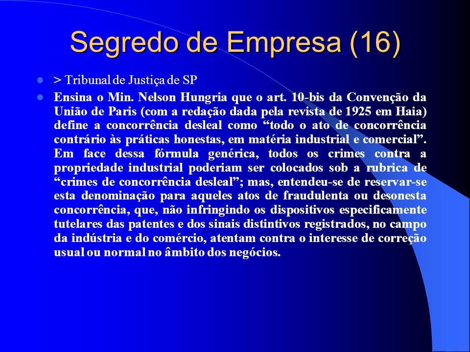 Segredo de Empresa (16) > Tribunal de Justiça de SP Ensina o Min. Nelson Hungria que o art. 10-bis da Convenção da União de Paris (com a redação dada