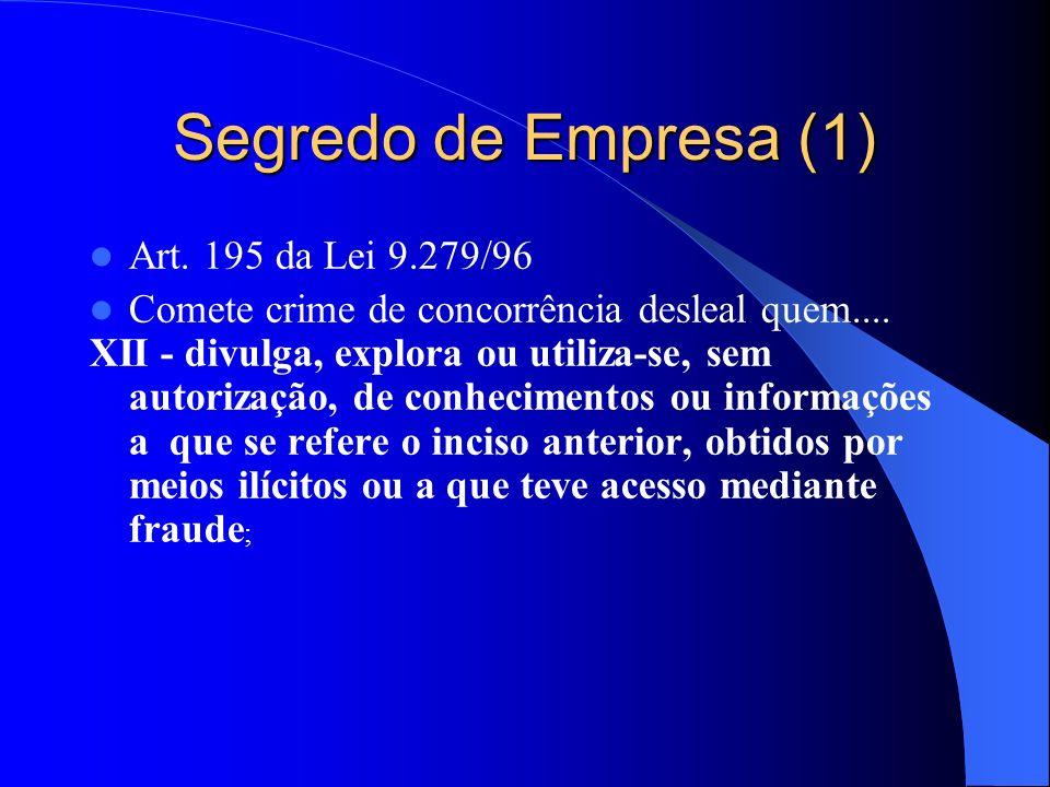 Segredo de Empresa (1) Art. 195 da Lei 9.279/96 Comete crime de concorrência desleal quem.... XII - divulga, explora ou utiliza-se, sem autorização, d