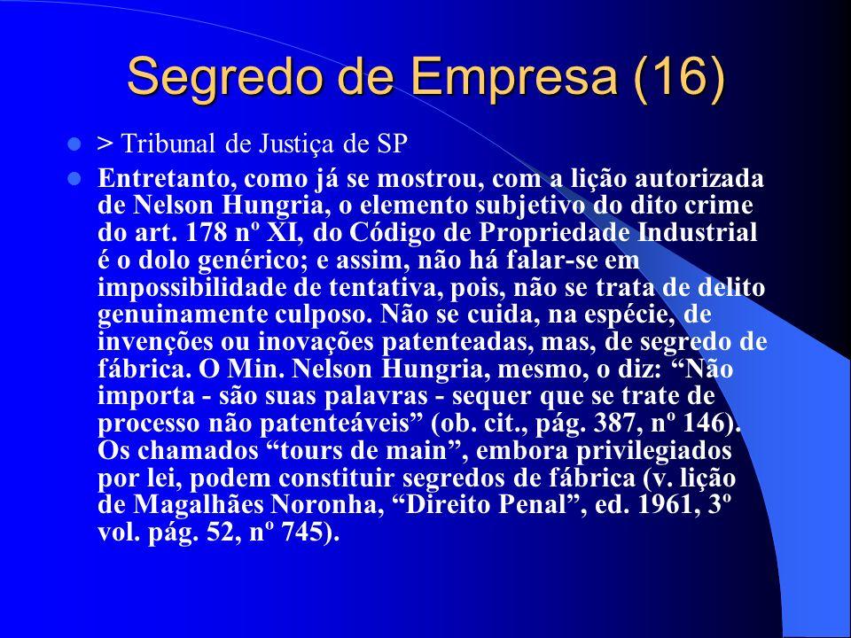 Segredo de Empresa (16) > Tribunal de Justiça de SP Entretanto, como já se mostrou, com a lição autorizada de Nelson Hungria, o elemento subjetivo do