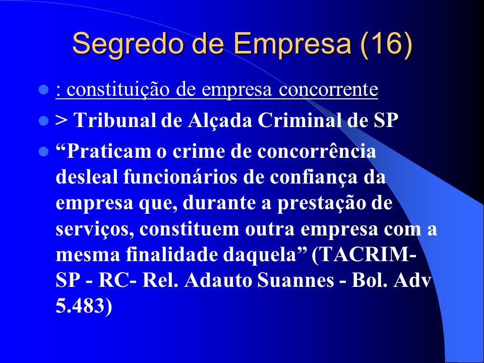 Segredo de Empresa (16) : constituição de empresa concorrente > Tribunal de Alçada Criminal de SP Praticam o crime de concorrência desleal funcionário