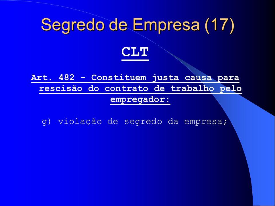 Segredo de Empresa (17) CLT Art. 482 - Constituem justa causa para rescisão do contrato de trabalho pelo empregador: g) violação de segredo da empresa