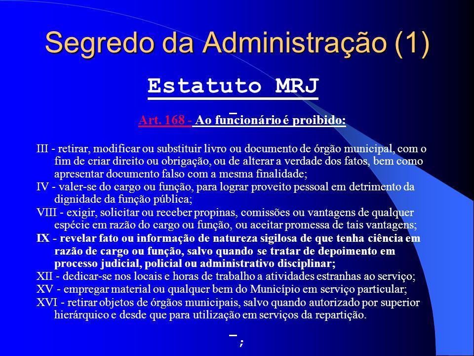 Segredo da Administração (1) Estatuto MRJ Art. 168 - Ao funcionário é proibido: Art. 168 - III - retirar, modificar ou substituir livro ou documento d