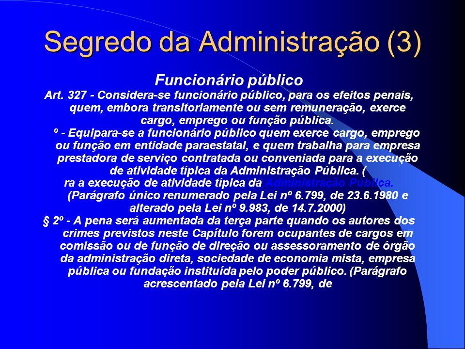 Segredo da Administração (3) Funcionário público Art. 327 - Considera-se funcionário público, para os efeitos penais, quem, embora transitoriamente ou