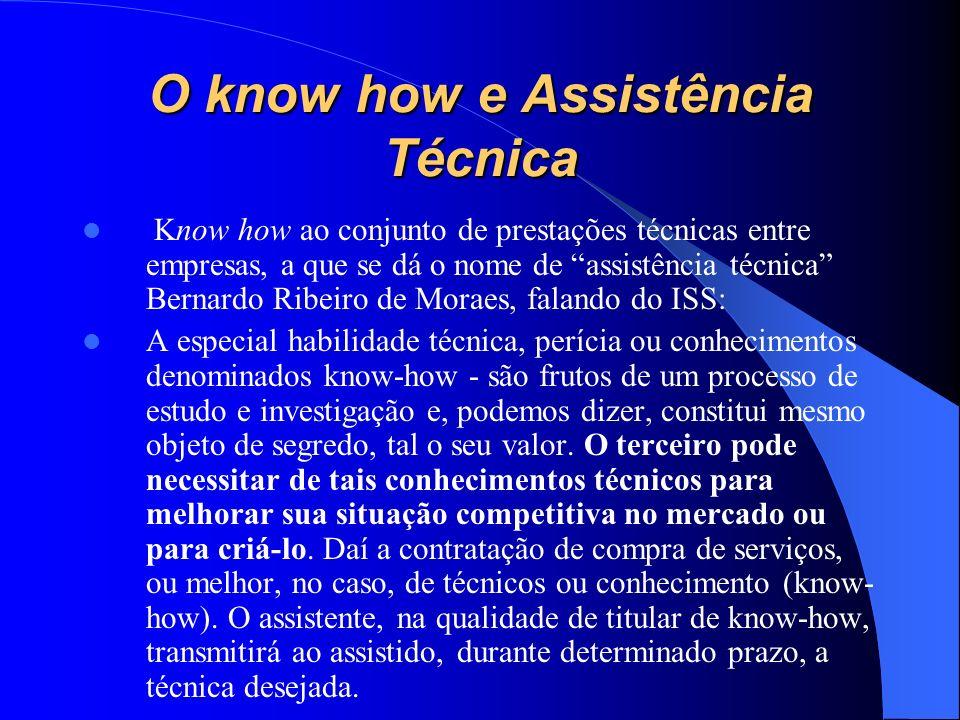 O know how e Assistência Técnica Know how ao conjunto de prestações técnicas entre empresas, a que se dá o nome de assistência técnica Bernardo Ribeir