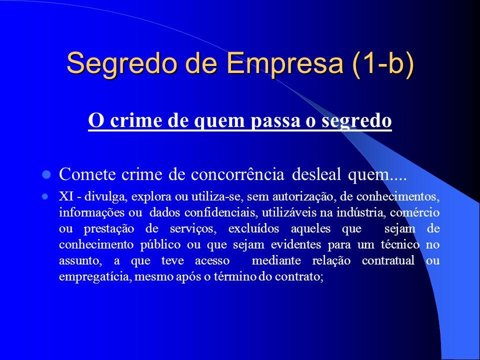 Segredo de Empresa (1-b) O crime de quem passa o segredo Comete crime de concorrência desleal quem.... XI - divulga, explora ou utiliza-se, sem autori