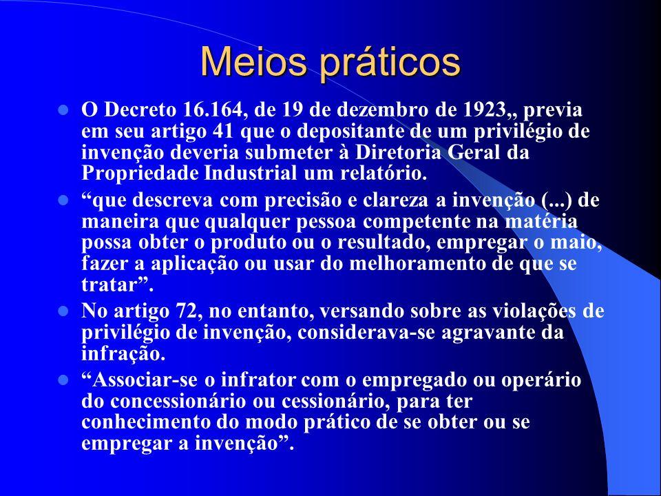 Meios práticos O Decreto 16.164, de 19 de dezembro de 1923,, previa em seu artigo 41 que o depositante de um privilégio de invenção deveria submeter à