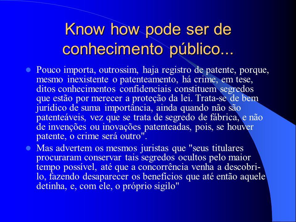 Know how pode ser de conhecimento público... Pouco importa, outrossim, haja registro de patente, porque, mesmo inexistente o patenteamento, há crime,