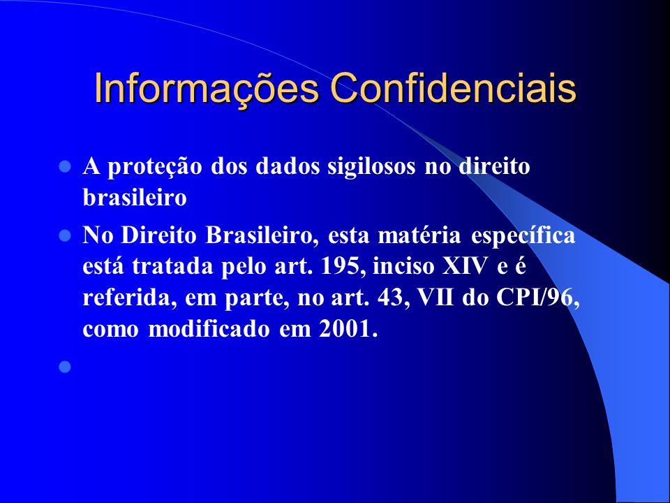 Informações Confidenciais A proteção dos dados sigilosos no direito brasileiro No Direito Brasileiro, esta matéria específica está tratada pelo art. 1