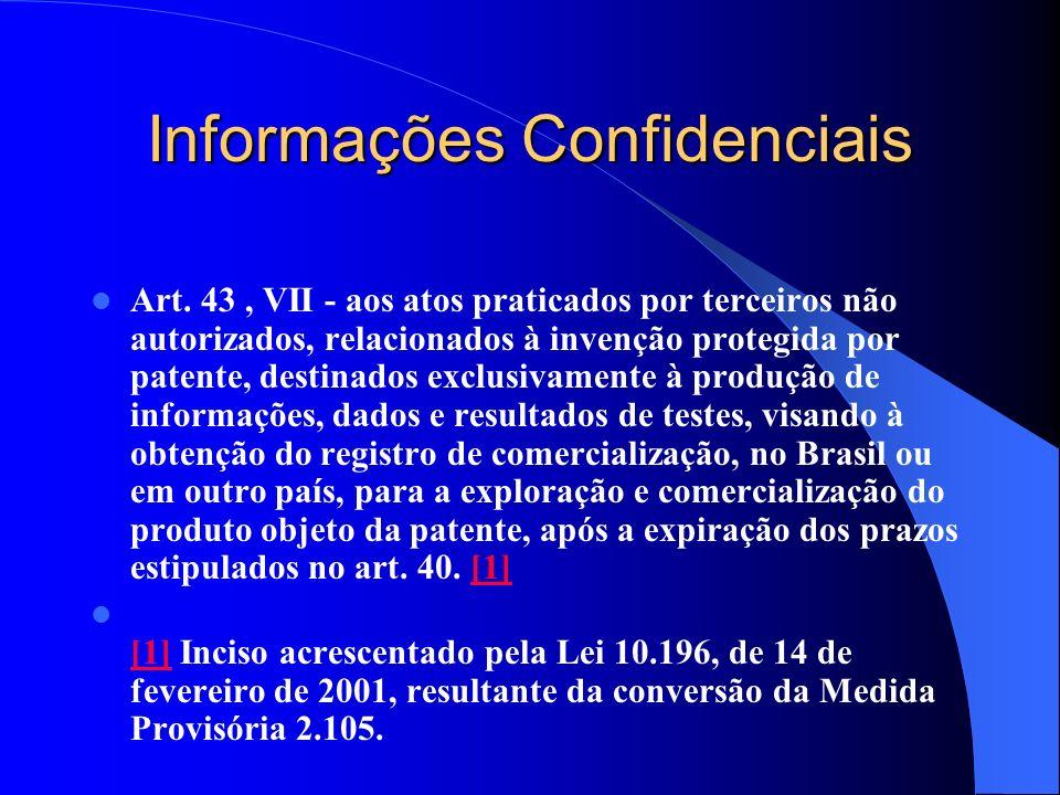 Informações Confidenciais Art. 43, VII - aos atos praticados por terceiros não autorizados, relacionados à invenção protegida por patente, destinados