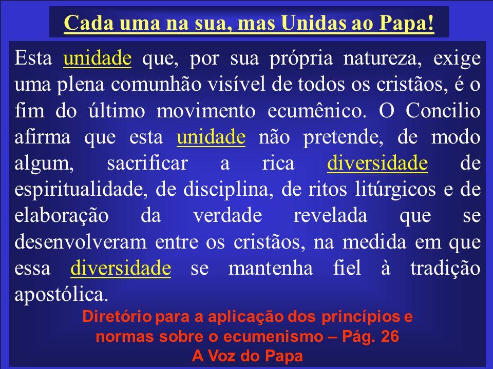 Cada uma na sua, mas Unidas ao Papa! Esta unidade que, por sua própria natureza, exige uma plena comunhão visível de todos os cristãos, é o fim do últ