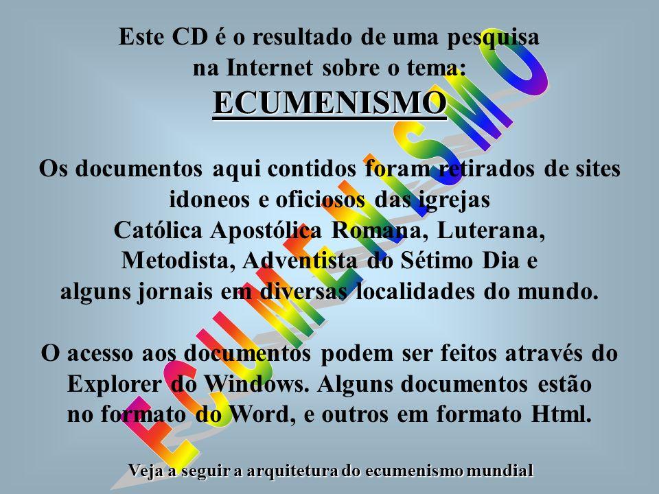Este CD é o resultado de uma pesquisa na Internet sobre o tema:ECUMENISMO Os documentos aqui contidos foram retirados de sites idoneos e oficiosos das