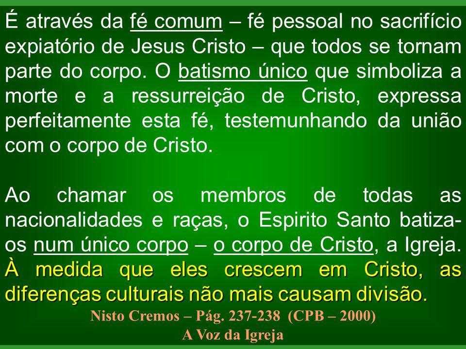 É através da fé comum – fé pessoal no sacrifício expiatório de Jesus Cristo – que todos se tornam parte do corpo. O batismo único que simboliza a mort