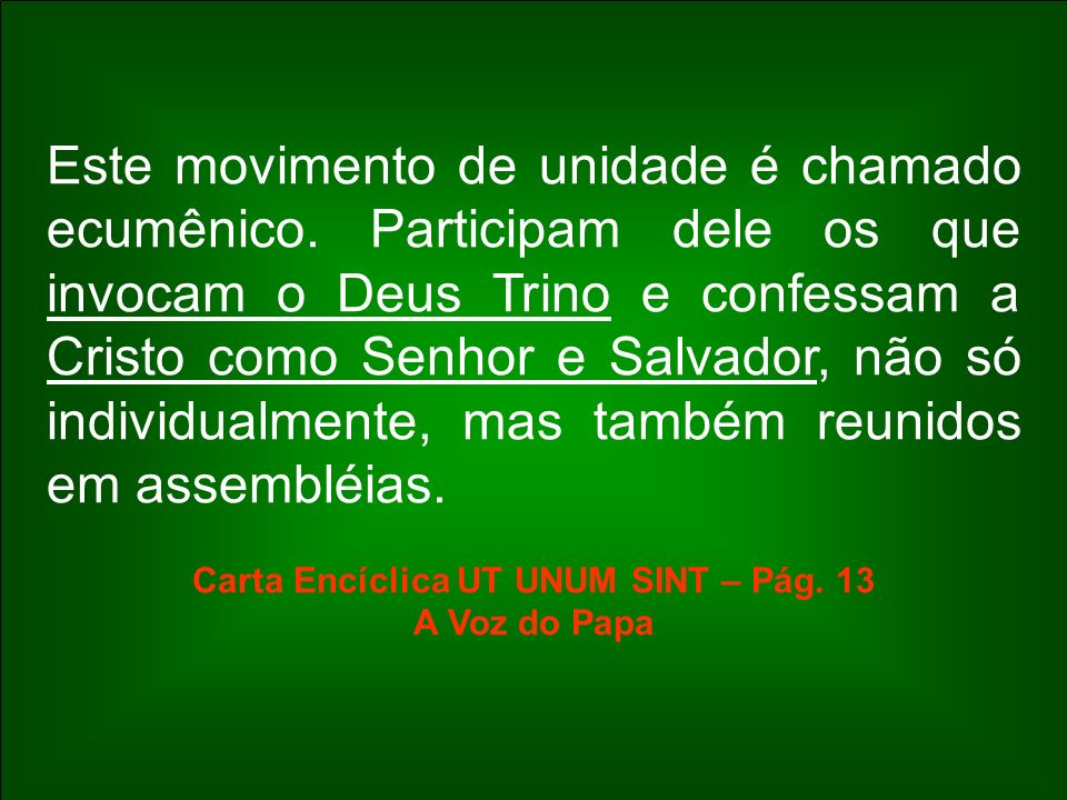 Este movimento de unidade é chamado ecumênico. Participam dele os que invocam o Deus Trino e confessam a Cristo como Senhor e Salvador, não só individ