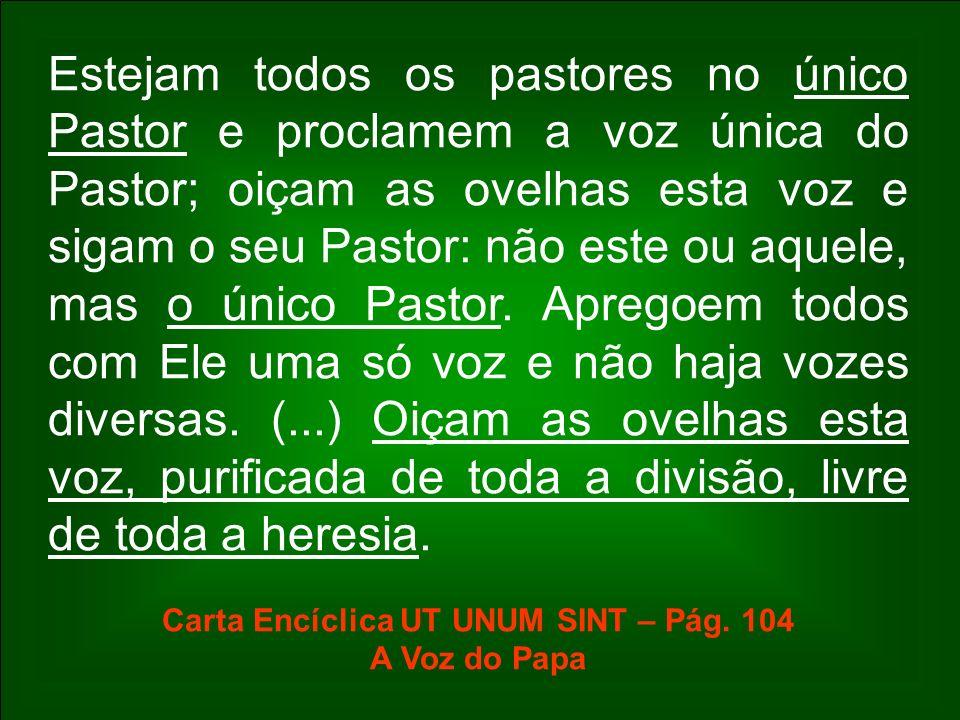 Estejam todos os pastores no único Pastor e proclamem a voz única do Pastor; oiçam as ovelhas esta voz e sigam o seu Pastor: não este ou aquele, mas o