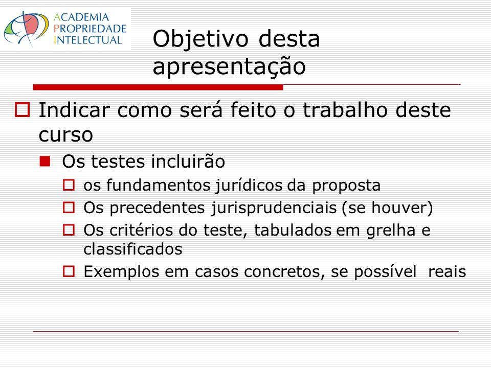 Objetivo desta apresentação Indicar como será feito o trabalho deste curso Os testes incluirão os fundamentos jurídicos da proposta Os precedentes jurisprudenciais (se houver) Os critérios do teste, tabulados em grelha e classificados Exemplos em casos concretos, se possível reais