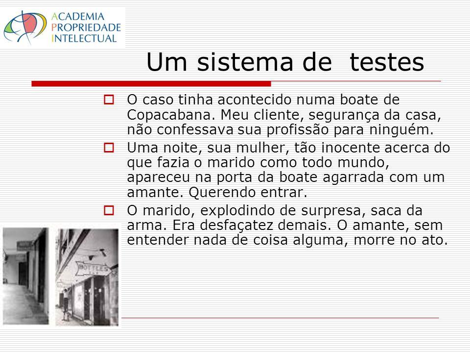 Um sistema de testes O caso tinha acontecido numa boate de Copacabana. Meu cliente, segurança da casa, não confessava sua profissão para ninguém. Uma