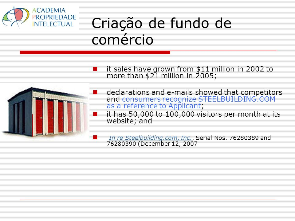 Criação de fundo de comércio it sales have grown from $11 million in 2002 to more than $21 million in 2005; declarations and e-mails showed that compe