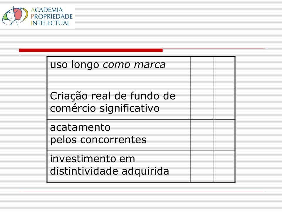 uso longo como marca Criação real de fundo de comércio significativo acatamento pelos concorrentes investimento em distintividade adquirida